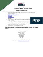 Gloucester Table Tennis Club - Summer League Entry Form 2014