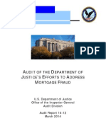 AUDIT OF THE JUSTICE DEPARTMENT REPORT-MARCH 2014-ON THEIR EFFORTS TO ADDRESS MORTGAGE FRAUDS