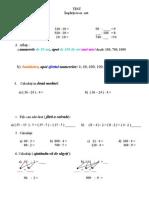 Test Matematica clasa a III a