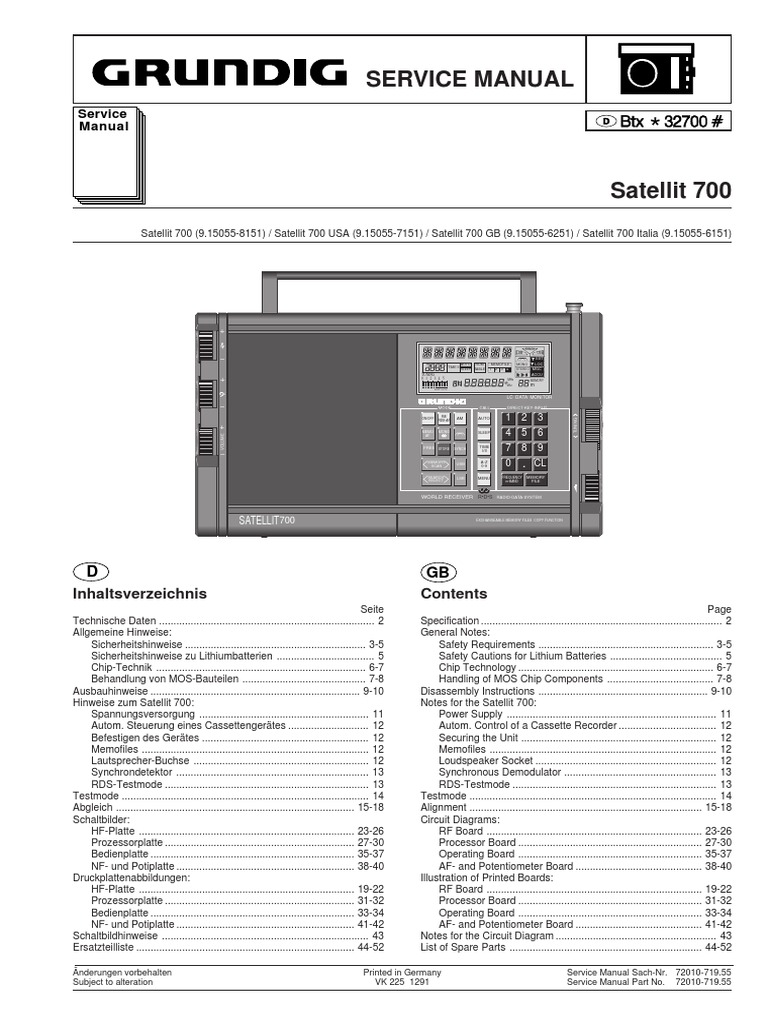 Grundig Satellit 700 Multi Band Radio Service Manual