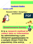 Wk 7 Lecture Designing a Questionnaire