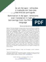 Nomeação em Ka'apor - reflexões sobre a tradução em face dos empréstimos do português
