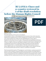 WORLD SRI LANKA Chaos and Order in the Country Reviewed in the Context of the Draft Resolution Before the Human Rights Council