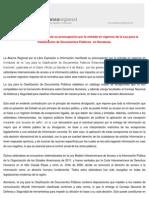 La Alianza Regional manifiesta su preocupación por la entrada en vigencia de la Ley para la Clasificación de Documentos Públicos  en Honduras.