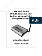 AIRNET 54Mb Low Cost Indoor Access Point Manual