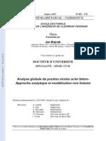 Analyse globale de poutres mixtes acier béton-  Approche analytique et modélisation non linéaire