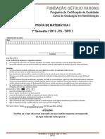 2011.1 PS - MATEMÁTICA I - T1