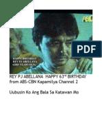 Rey Pj Abellana Happy 63rd Birthday