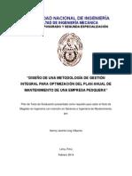 Plan de Tesis Maestría en Gerencia e Ingenería de Mantenimiento 01.MARZO.14