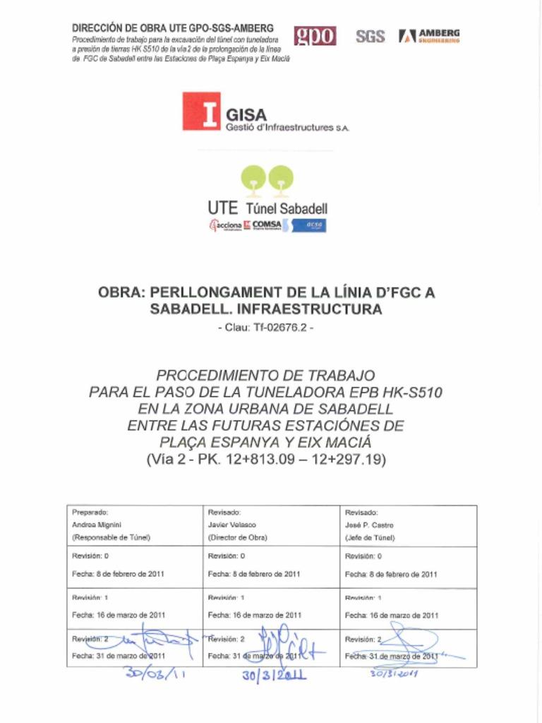 110331 PROCEDIMIENTO DE TRABAJO S510 Plaça d\'Espanya - Eix Maciá ...