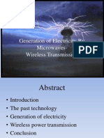 Generation of Electricity by Microwaves-Wireless Transmission