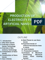 Production of Electricity From Artificial Nano Leaves