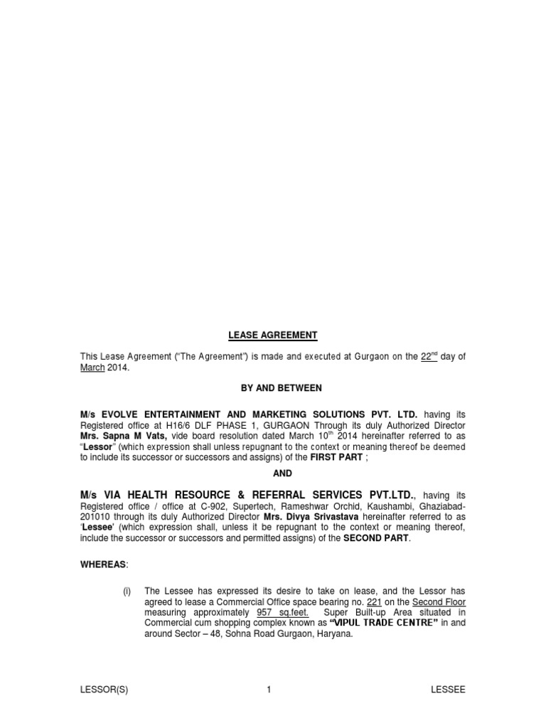 Lease Agreement Lease Common Law