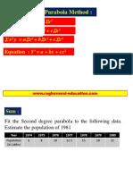 Statistics second degree parabola