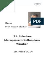Rupert Stadler - Management Kolloquium München 2014