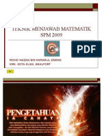 TEKNIK MENJAWAB MATEMATIK SPM2009