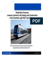 Lessons Learned in the Design and Construction of the Charlotte Light Rail Transit System