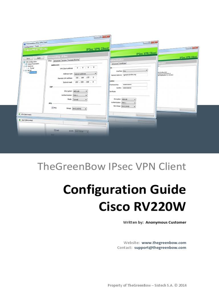 Cisco RV220-W VPN Router & GreenBow IPsec VPN Software