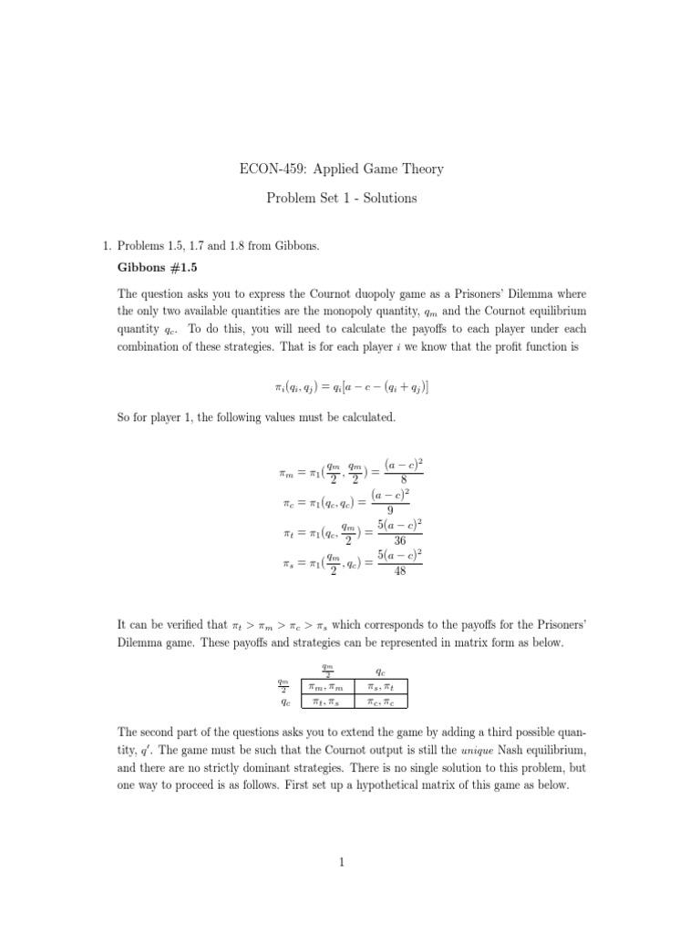 Gibbons Solution Problem Set 1 5 1 7 & 1  8 | Economics Of