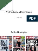 Pre Production Plan Tabloid