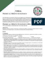 Convocatoria Premio al Mérito Ecológico 2014