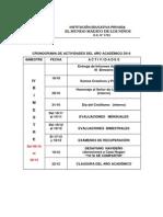 CRONOGRAMA DE ACTIVIDADES DEL AÑO ACADÉMICO 2014 - IV  BIMESTRE