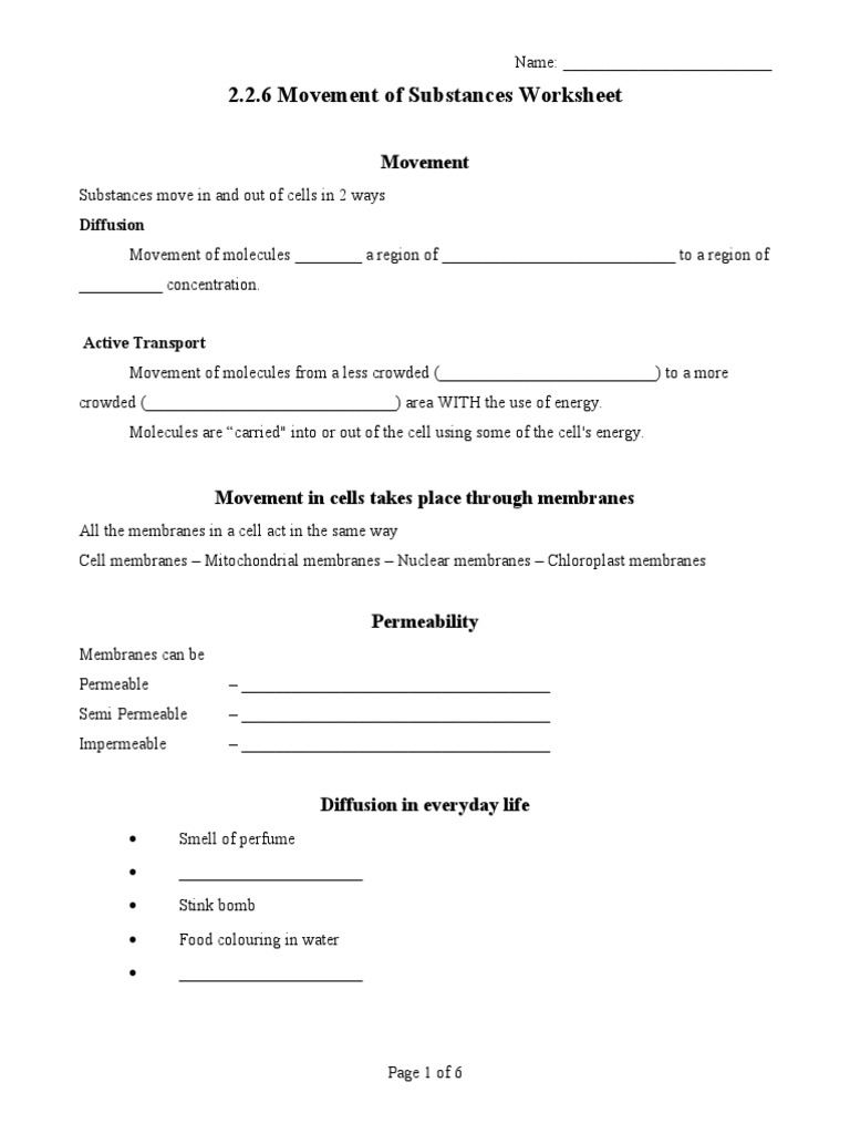 226 Diffusion Osmosis Worksheet 1 Osmosis – Cell Membrane Worksheet Answers