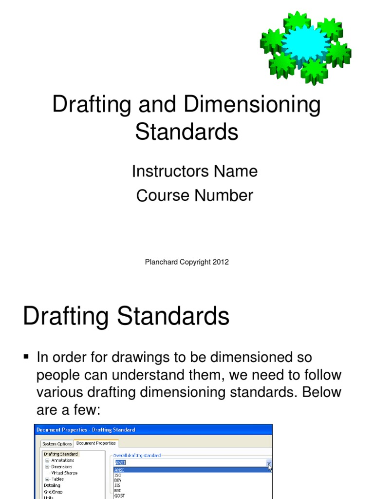Drafting And Dimensioning Standards Standardization Engineering
