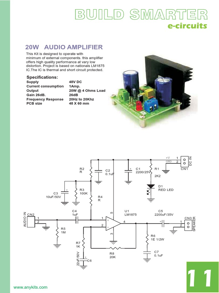 20w Audio Amplifier Using Lm1875 Ic Circuit Diagram