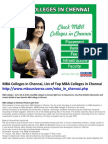 MBA Colleges in Chennai, List of Top MBA Colleges in Chennai