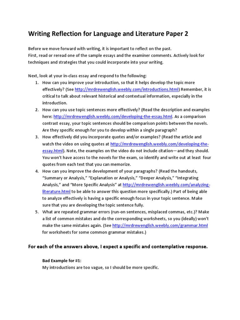 writing reflection paper