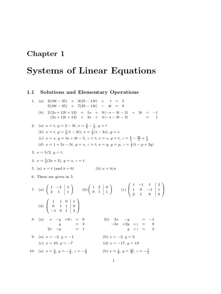 Solutions Manual - Linear Algsolutions manual - linear algebra with  applications, 2nd edition by w. keith nicholson chapter 1ebra With  Applications, ...