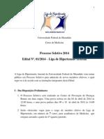 Edital - Liga de Hipertensão 2014