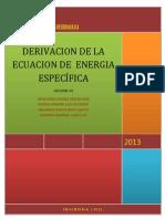 Informe #5. Deri.. de La Ecuacion de Energia Especifica
