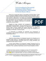 Informe del Ex Diputado Walter Marquez sobre la Partida de Nacimiento Maduro