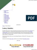 Lottery Statistics, Statistical Analysis, National Lottery UK