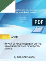 Impact of Advertisement on Consumer Buying Behaviour Towards