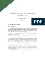Introduction Au Cours de Macroeconomie Nanterre l1 s2