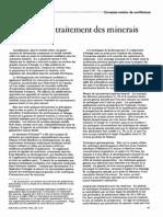 prospection et extraction et traitement des minerais