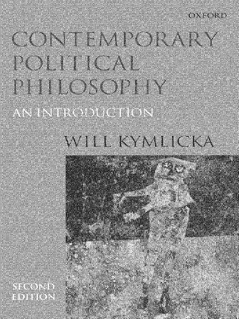 Will Kymlicka Contemporary Political Philosophy an
