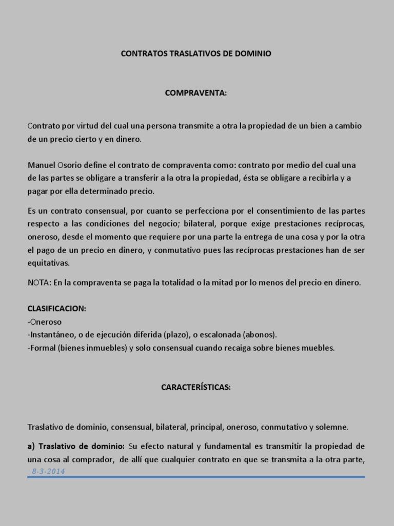 Contratos Traslativos de Dominio Compra Venta Grupo Yanira