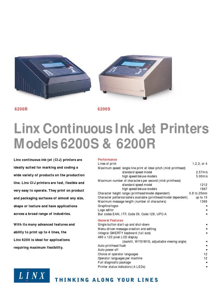 linx 6200r and 6200s printer computing electronic engineering rh es scribd com