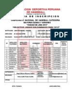 Ficha de Inscripcion Handball2