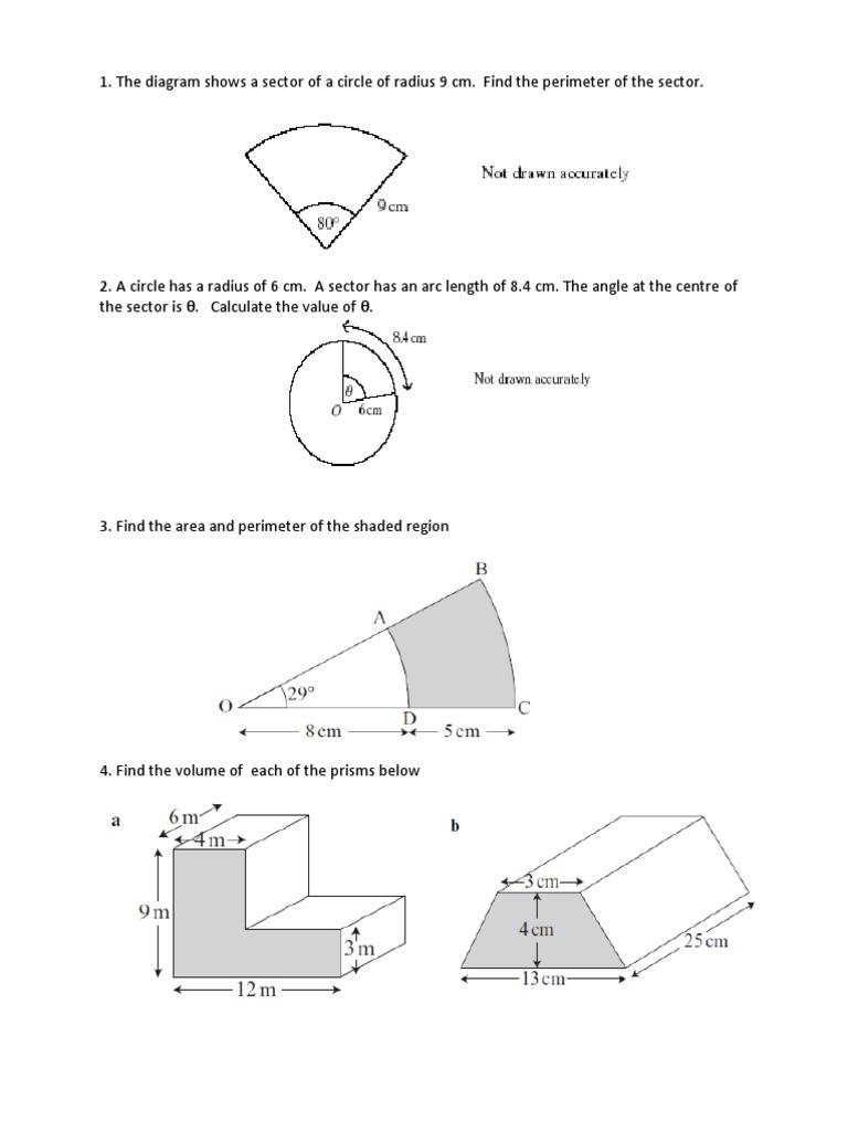 worksheet Area Of Shaded Region Worksheet mensuration worksheet