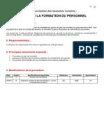 1-Procedure Gestion de Formation Du Personnel 110915