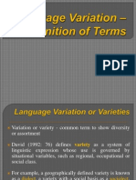 Language Variation - Definition of Termss