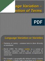Language Variation - Definition of Termss