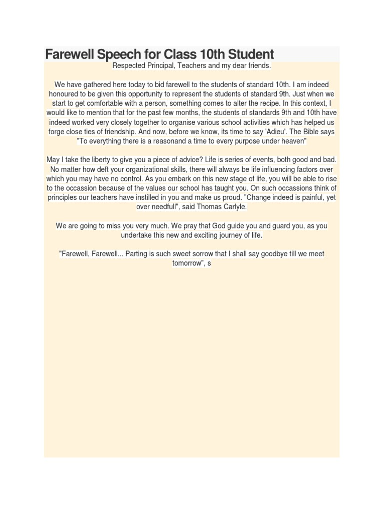 farewell speeches Looking for farewell messages or retirement wishes for a teacher and mentor that you can write in a card or speech get your goodbye note or farewell speech sample.