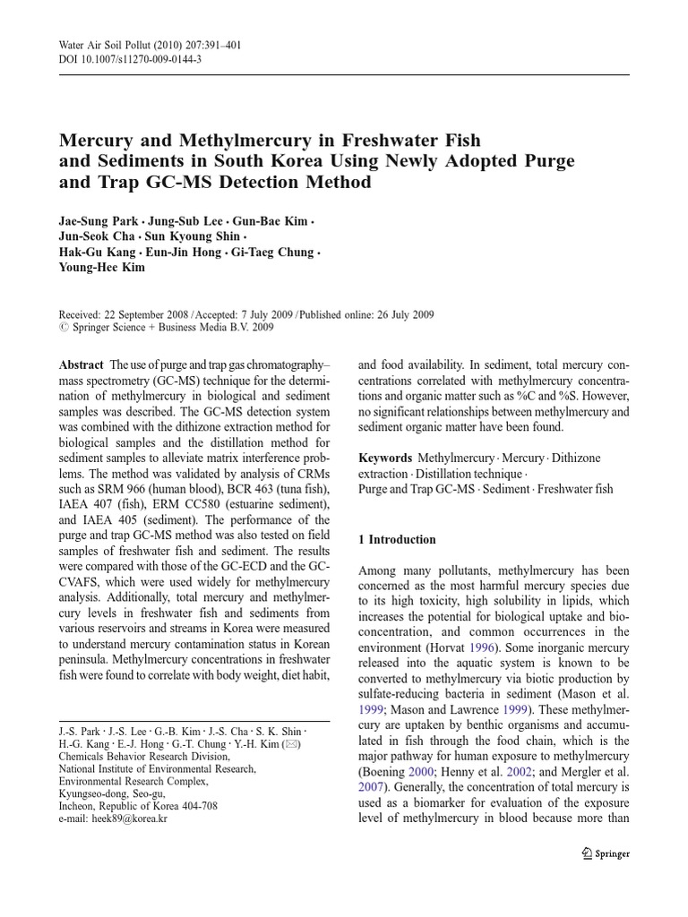 Freshwater fish mercury - Jurnal Tentang Gc Ms Gas Chromatography Mass Spectrometry Gas Chromatography