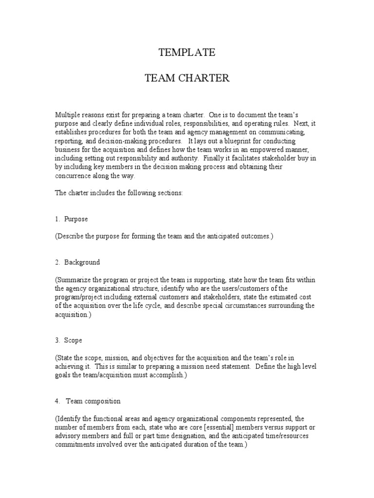 Generic Team Charter Template